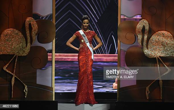 Miss Jamaica Kaci Fennell stands on stage during the 63rd Annual MISS UNIVERSE Pageant at Florida International University on January 25 2015 in...