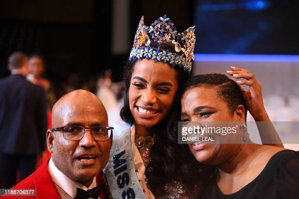 Miss Jamaica ToniAnn Singh celebrates winning the Miss World Final 2019 at the Excel arena in east London on December 14 2019