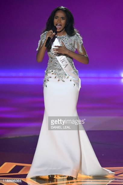 Miss Jamaica ToniAnn Singh performs during the the Miss World Final 2019 at the Excel arena in east London on December 14 2019
