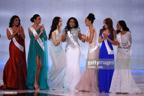 Miss Jamaica ToniAnn Singh reacts during the the Miss World Final 2019 at the Excel arena in east London on December 14 2019