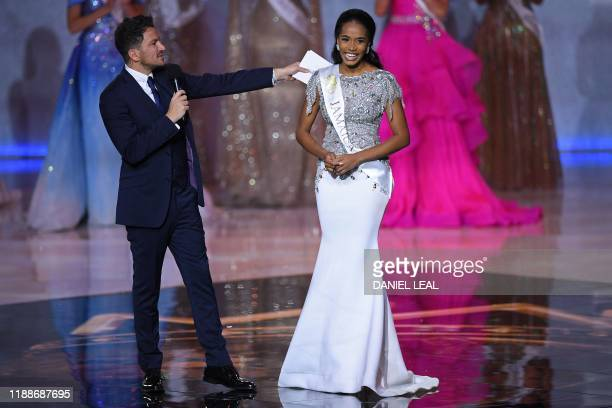 Miss Jamaica ToniAnn Singh reacts to making the semifinals during the the Miss World Final 2019 at the Excel arena in east London on December 14 2019
