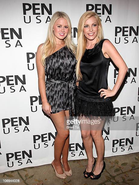 Miss January 2011 Anna Berglund and Crystal Harris attend 20th annual Literary Awards Festival at Beverly Hills Hotel on November 17 2010 in Beverly...