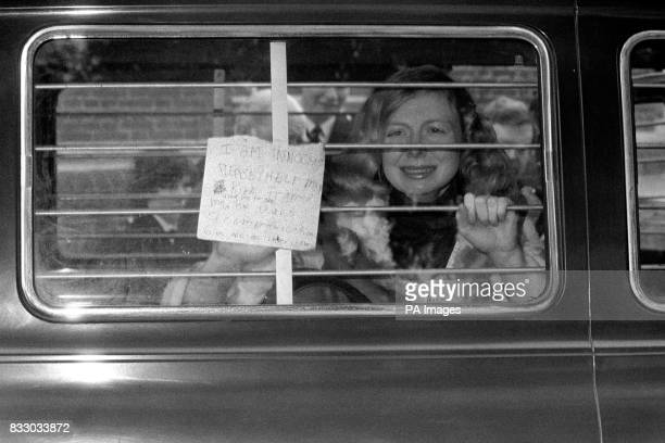 Miss Joyce McKinney protest her innocence in the back of a police van during the trial in which she and a Mr Keith Joseph are accused of Kidnap Miss...