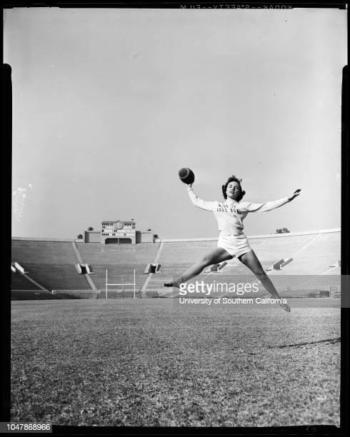 Miss Junior Rose Bowl 25 November 1956 Pat BellMr and Mrs CS Rosseau grandparentsCaption slip reads 'Photographer Wilson Assignment Miss Jr Rose Bowl...