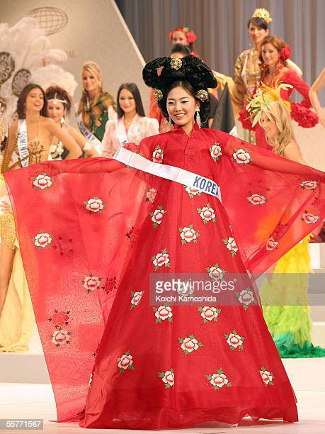 Miss Korea Kyung eun Lee wears her national costume as she competes in the 2005 Miss International beauty pageant on September 26 2005 in Tokyo Japan