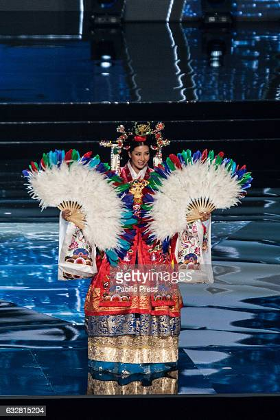 Miss Korea shows off her national costume at the Arena in Pasay City Candidates from different countries showed off their national costumes during...