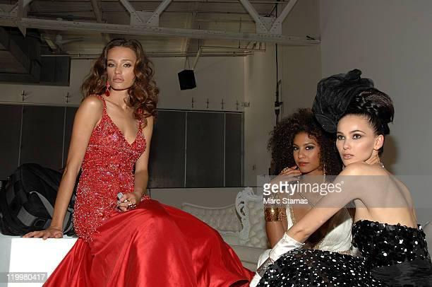Miss Kosovo 2008 Zana Krasniqi Miss France 2009 Chloe Mortaud and Miss Kosovo 2009 Marigona Dragusha attend a Miss Universe photocall at Chelsea...