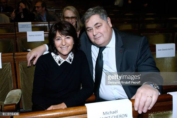 Miss Laurent Dassault Martine and PierreFrancois Veil attend the Tribute to ELie Wiesel by Maurice Levy X Publicis Group at La Sorbonne on January 29...