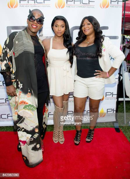 Miss Lawrence Amiyah Scott and Trina Braxton attend the 2017 Pure Heat Community Festival at Piedmont Park on September 3 2017 in Atlanta Georgia