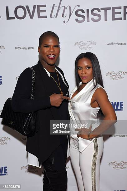 Miss Lawrence Washington of Bravo TV and Ellen Carter Rucker of Love Thy Sister pose for a photo at the WE tv premiere party at Bar One on January 8...