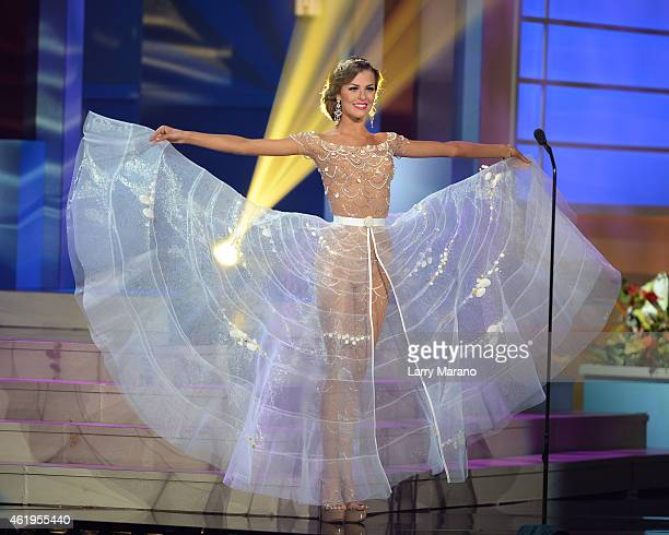 Miss Lithuania Patricija Belousova participtaes in the 63rd Annual Miss Universe Preliminary Show at Florida International University on January 21...