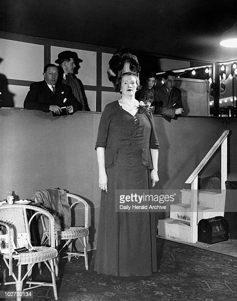 'Miss Londy the tallest woman in the world Miss Londy the tallest woman in the world' 27 January 1938 Photograph taken at Bertram Mills' Circus of a...