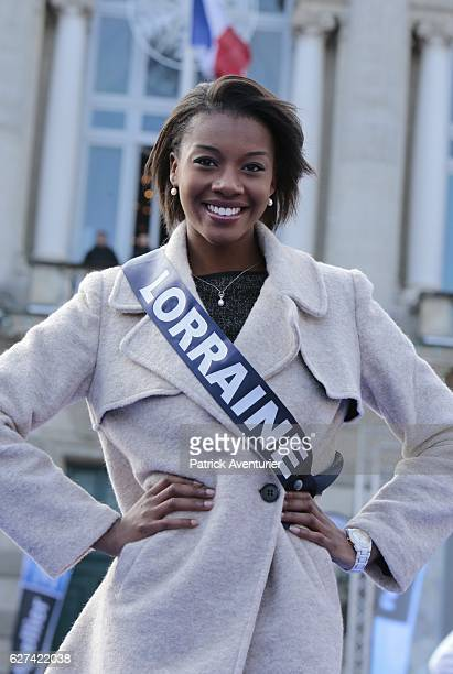 Miss Lorraine Justine Kamara parade during the official presentation of Miss France contestants in Montpellier southern France on December 3 ahead of...