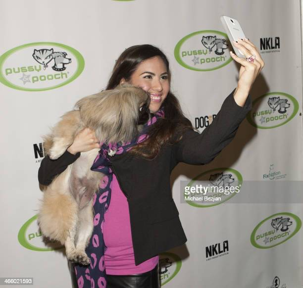 Miss Los Angeles Latina Adriana Michelle takes a selfie at Beast Friends A Fur Affair To Benefit Animal Welfare at Pussy Pooch Pet Lifestyle Center...