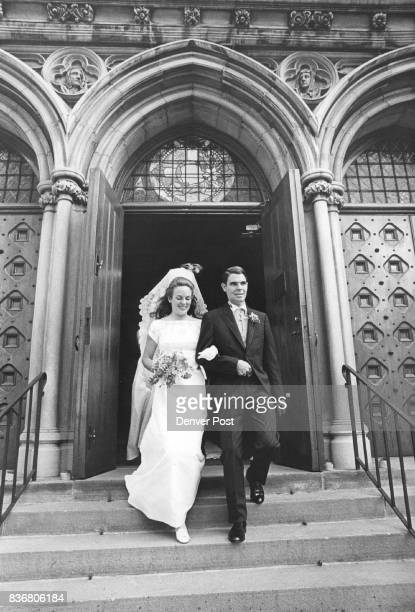 Miss Louise Montjoy Campbell and Bruce Wolf leave St John's Cathedral after 530 pm nuptials on Friday Credit Denver Post
