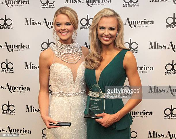 Miss Louisiana April Nelson and Miss Florida Mary Katherine Fechtel speaks at Wednesday Night Preliminaries 2016 Miss America Competition at Atlantic...