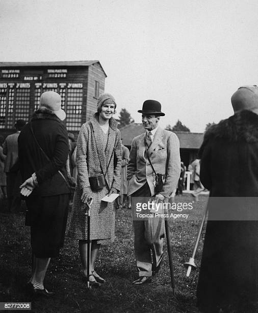 Miss Lucia St Maur and Captain Featherstonehaugh are among the spectators at Fontwell Park Racecourse West Sussex 10th April 1930