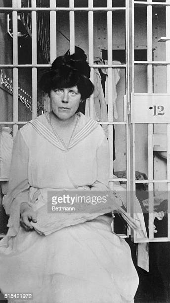 Miss Lucy Burns in jail after a suffragette picket in Washington