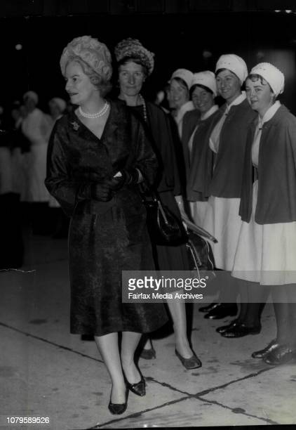 Miss M Powell matron of the St Geo hospital London makes her way also guard of Honour formed by uses from hospitals in the metropolitan she leaves...