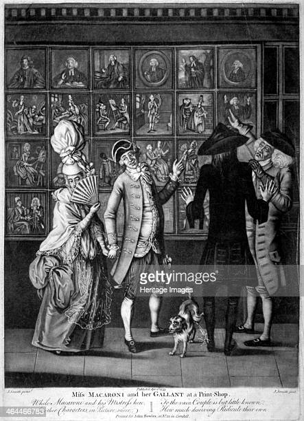'Miss Macaroni and her gallant at a print shop' 1773 Scene showing four people gazing at a print shop window possibly 13 Cornhill One points at the...