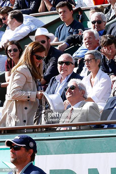 Miss Manuel Valls Violonist Anne Gravoin Francois Berleand his wife Alexia Stresi and JeanLoup Dabadie attend the 2015 Roland Garros French Tennis...