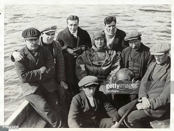 Miss Margaret Naylor Britain's first woman deep sea diver with members of her crew now at work in salvaging the treasure sunk in 1588 when a Spanish...