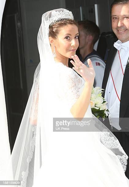 Miss Marie Cavallier Arrives For Her Wedding To Prince Joachim Of Denmark At Mogeltonder Church In Mogeltonder, Denmark.
