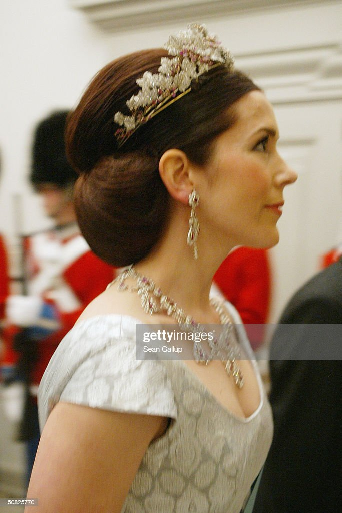 Miss Mary Elizabeth Donaldson and Crown Prince Frederik of Denmark attend a celebratory dinner at Christiansborg Palace on May 11, 2004 in honor of their upcoming wedding on May 14th in Copenhagen, Denmark.
