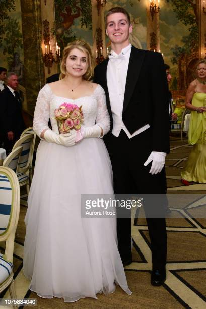 Miss Mary Valentine Apple and Calvin Sullivan attend The International Debutante Ball at The Pierre Hotel on December 29 2018 in New York City