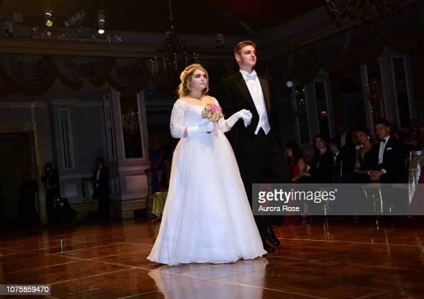 Miss Mary Valentine Apple attends The International Debutante Ball at The Pierre Hotel on December 29 2018 in New York City