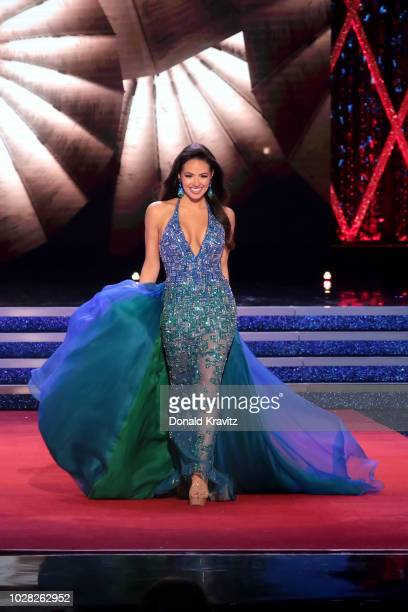 Miss Maryland 2018 Adrianna David participates in the Eveningwear portion of the 1st Night of Preliminaries of the Miss America 20 competition at...