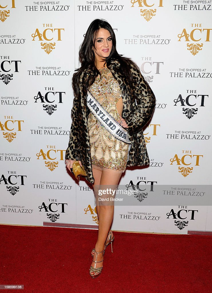 Miss Maryland USA 2013 Kasey Staniszewski arrives at The Act at The Palazzo on December 19, 2012 in Las Vegas, Nevada.