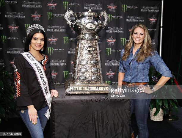 Miss Maryland USA 2019 Mariela Pepin and hunter Nikki Boxler attends the 2019 Professional Bull Riders Monster Energy Buck Off at the Garden at...