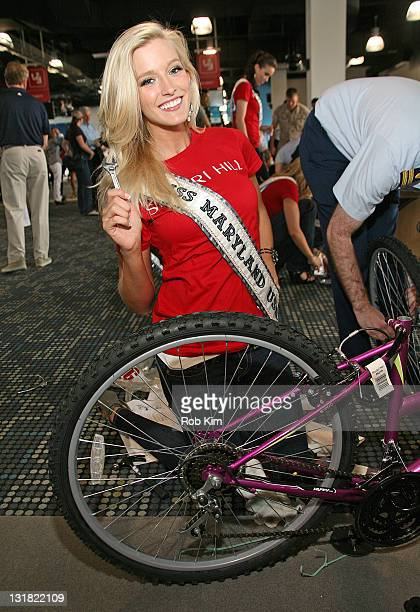 Miss Maryland USA Allyn Rose attends a bike build in celebration of the 60th anniversary of the Miss USA Pageant and the 70th anniversary of the USO...