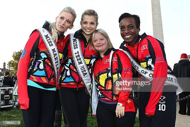 Miss Maryland USA Allyn Rose Miss Teen USA Danielle Doty Glee's Lauren Potter and Miss DC USA Imani Bentham pose for a photo at the 2011 Audi Best...