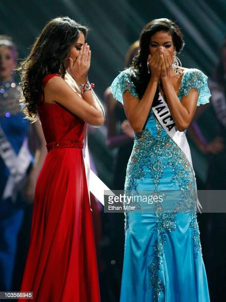 Miss Mexico 2010 Jimena Navarrete and Miss Jamaica 2010 Yendi Phillipps react as Navarette is named the 2010 Miss Universe and Phillipps the first...