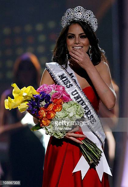 Miss Mexico 2010 Jimena Navarrete reacts after being named the 2010 Miss Universe during the 2010 Miss Universe Pageant at the Mandalay Bay Events...