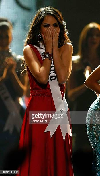 Miss Mexico 2010 Jimena Navarrete reacts as she is named the 2010 Miss Universe during the 2010 Miss Universe Pageant at the Mandalay Bay Events...