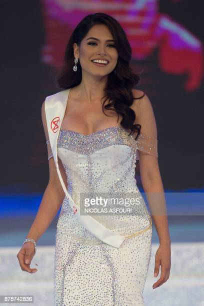 Miss Mexico Alma Andrea Meza Carmona walks on stage during the 67th Miss World contest final in Sanya on the tropical Chinese island of Hainan on...