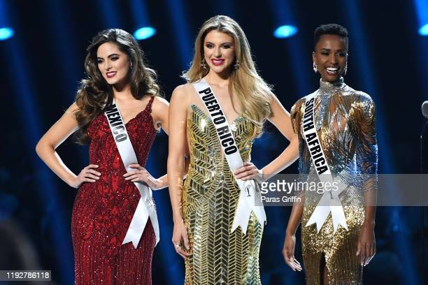 Miss Mexico Sofía Aragón Miss Puerto Rico Madison Anderson and Miss Universe 2019 Zozibini Tunzi of South Africa appear onstage at the 2019 Miss...