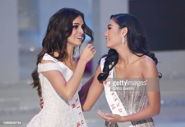 Miss Mexico Vanessa Ponce de Leon reacts after being announced the winner of the 68th Miss World final with runnerup Miss Thailand Nicolene Pichapa...
