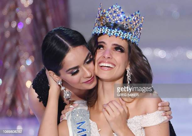 TOPSHOT Miss Mexico Vanessa Ponce de Leon reacts after being crowned the 68th Miss World by Miss World 2017 Manushi Chhillar in Sanya on the tropical...