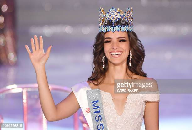 TOPSHOT Miss Mexico Vanessa Ponce de Leon reacts after winning the 68th Miss World contest final in Sanya on the tropical Chinese island of Hainan on...