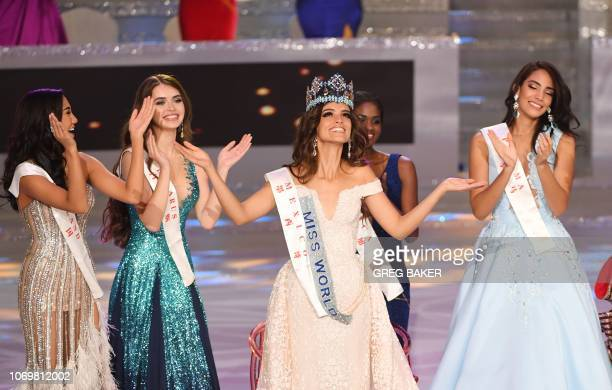 TOPSHOT Miss Mexico Vanessa Ponce de Leon reacts after winning the 68th Miss World contest final with runnerup Miss Thailand Nicolene Pichapa...