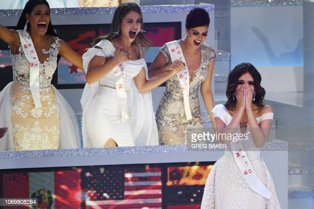 TOPSHOT Miss Mexico Vanessa Ponce de Leon reacts as she is announced the winner of the 68th Miss World final in Sanya on the tropical Chinese island...