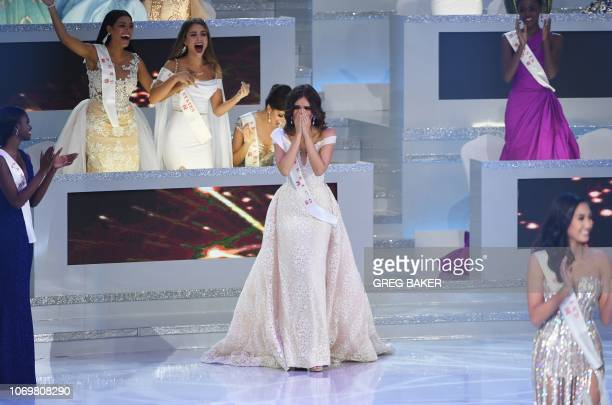 Miss Mexico Vanessa Ponce de Leon reacts as she is announced the winner of the 68th Miss World final in Sanya on the tropical Chinese island of...