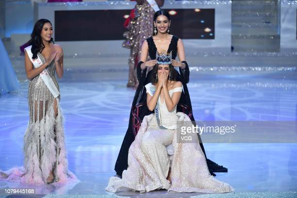 Miss Mexico Vanessa Ponce de Leon reacts as she is crowned the 68th Miss World by Miss World 2017 Manushi Chhillar on December 8 2018 in Sanya Hainan...
