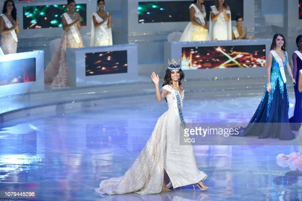 Miss Mexico Vanessa Ponce de Leon waves after winning the 68th Miss World contest final on December 8 2018 in Sanya Hainan Province of China