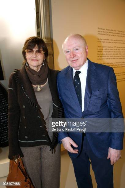 Miss Michel Sardou and Christoph von Weyhe attend the 'Azzedine Alaia Je Suis Couturier' Exhibition as part of Paris Fashion Week Held at 'Azzedine...