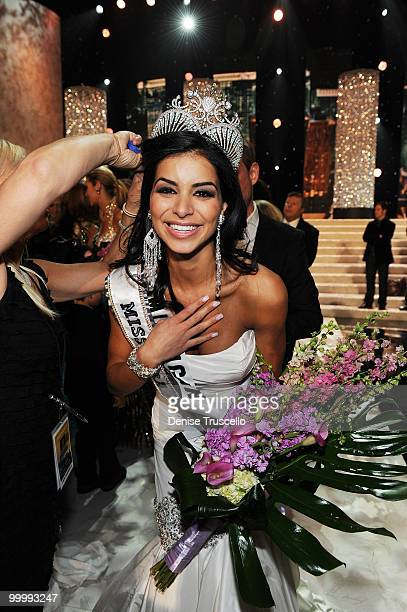 Miss Michigan Rima Fakih wins the 2010 Miss USA Pageant at Planet Hollywood Casino Resort on May 16 2010 in Las Vegas Nevada